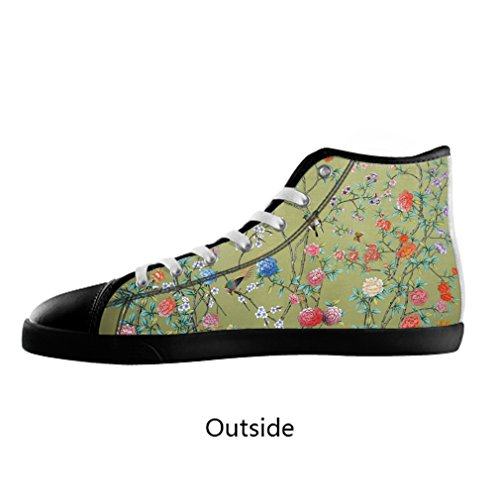 Sale alerts for Malcolm-Fashion Malcolm-Fashion Textile painting of flowers and birds Black High Top Canvas Shoes Model002(Men) - Covvet