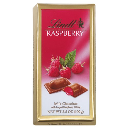 Lindt Milk Chocolate with Liquid Raspberry Filling, 3.5-Ounce Packages (Pack of 12)