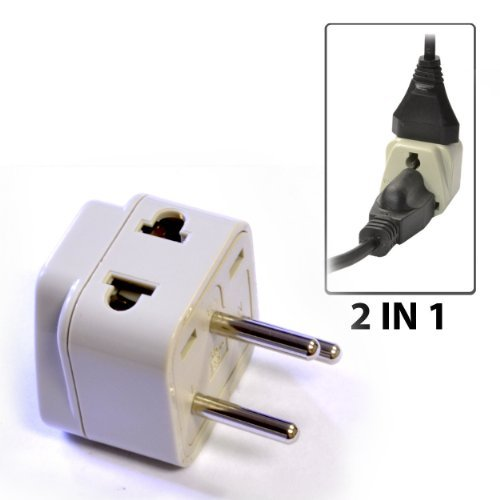 Orei Grounded Universal 2 In 1 Plug Adapter Type H For Israel & More - High Quality - Ce Certified - Rohs Compliant Wp-H-Gn Pc, Personal Computer