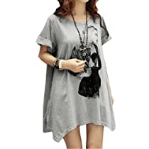 Allegra K Portrait Print Scoop Neck Short Sleeve Tunic Shirt for Ladies