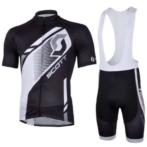 2013 NEW!!! SCOTT Black Bib Short Sleeve Cycling Jerseys Wear Clothes Bicycle/ Bike/ Riding Jerseys + Bib Pants Shorts Size M