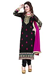 Cool women's Georgette Embroderied Unstitched Dress Material -1019_Black_Freesize