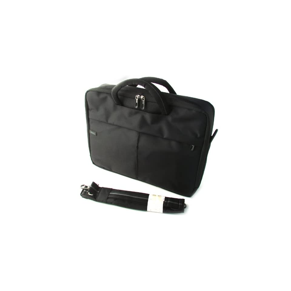 Genuine DELL Black Nylon Laptop Notebook Carry Case Tote Bag Fits up to 15.4 inch Screens Exterior Dimensions 17.5 x 13.5 x 4.5 Part Number DP458