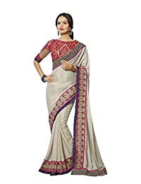 Aarti Latest Fashionable Party Wear Fancy Saree Bridal Embroidery Saree Wedding Wear Free Size - B00VRM6JOG