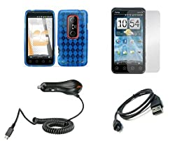 HTC EVO 3D / EVO V 4G (Sprint / Virgin Mobile) Premium Combo Pack - Blue Thermoplastic Polyurethane TPU Gel Skin Case Cover + Atom LED Keychain Light + Screen Protector + USB Cable + Car Charger