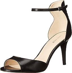 Nine West Women\'s Intooit Leather Heeled Sandal, Black/Black, 9.5 M US