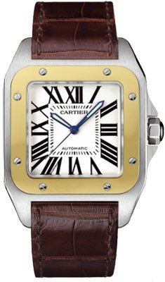 Cartier Cartier Men's W20072X7 Santos 100 XL Automatic Yellow Gold Stainless Steel and Leather Watch