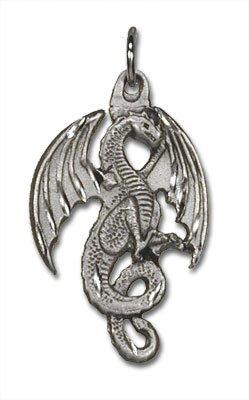 Ridge Winged Dragon Pewter Charm