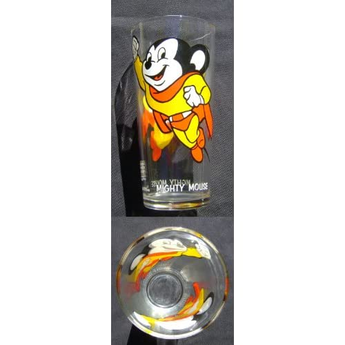 Mighty Mouse Terrytoons 1977 Pepsi Glass Rare Clean Unused Bright