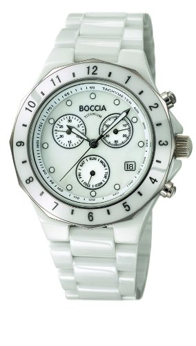 Boccia B3768-01 - Reloj cronógrafo de cuarzo unisex, correa de cerámica color blanco