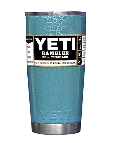 YETI Coolers Custom Stainless Steel 20 Ounce Rambler Tumbler with Lid (20oz) (20 oz) (Dipped Teal Crackle)