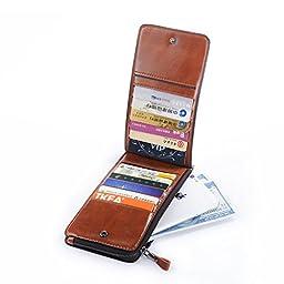 Premium Leather phone Wallet Organizer Card Holder Case Purse with Zip Pocket + Key Ring (Brown)