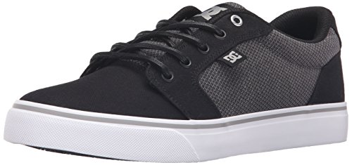 DC Men's Anvil TX SE Skate Shoe, Black/Grey/Grey, 13 M US
