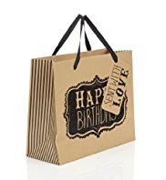 Black Sparkle Happy Birthday Medium Bag