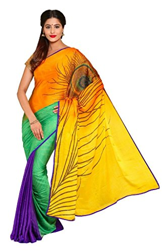 Sai Fab Women's Branded Indian Style Bhagalpuri Silk Multi-Coloured Printed Elegant Saree With Blouse Piece ( Best Present For Mom, Sister, Wife, Friend, Girl Friend )  available at amazon for Rs.339