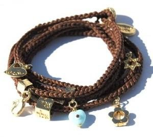Charm Wrap Bracelet with 24 Gold Plated Good Luck Charms