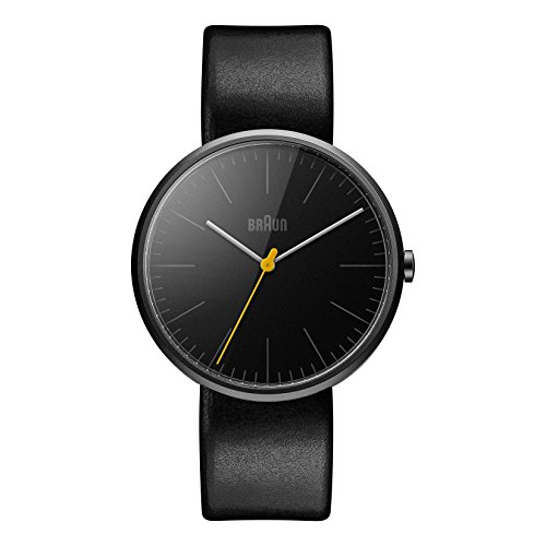 Braun Men's Quartz Watch with Black Dial Analogue Display and Black Leather Strap BN0172BKBKG