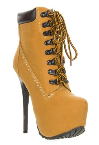 Women'S Lace Up High Heel Platform Bootie Ankle Boot Blazer/Milian-01