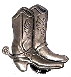 Metal Pewter Lapel Pin - Cowboy Boots w/ Spurs