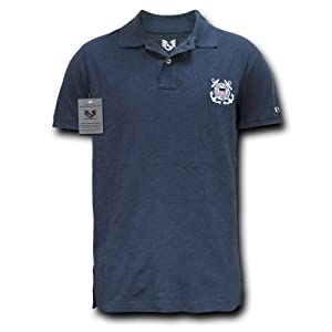 Rapiddominance Coast Guard Military Polo Shirt, Navy, Small