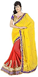 Lizel Fashion Women's Georgette Saree (536, Orange)