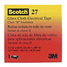 3M Glass Cloth Electrical Tape 27, White, Rubber Thermosetting Adhesive, .50-Inch by 66-Foot