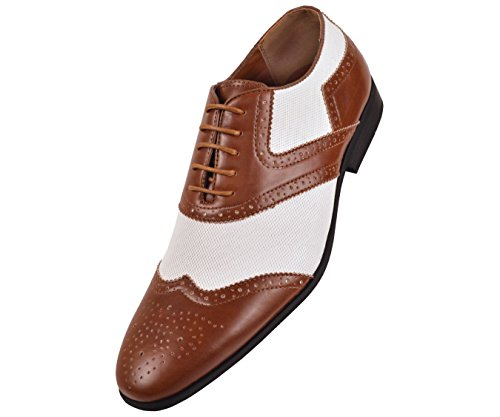 Amali Mens Two-Tone White Linen And Brown Smooth Oxford Dress Shoe: Style 2701 Brown-028 9.5 D (M) Us