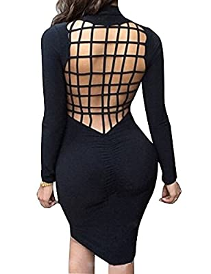 Allegrace Womens Sexy Back Mesh Cross Cut Stretch Bandage Party Evening Dresses