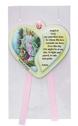 Guardian Angel Heart Crib Medal, Includes Pink Ribbon - Décor Gift Religious - 1