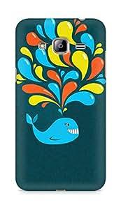 Amez designer printed 3d premium high quality back case cover for Samsung Galaxy J3 (2016 EDITION) (Dark happy cartoon whale)