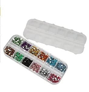 3000 Nail Art Gems Mixed Colours Shapes in Case (Size 2mm)