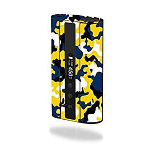 Eleaf iStick 100W TC Vape E-Cig Mod Box Vinyl DECAL STICKER Skin Wrap / Blue and Gold Yellow Camo Camouflage