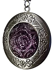 Stunning Photo Locket Necklace - Features Purple Metallic Swirl Dome On Front - Opens To Reveal Two Pictures Slots...