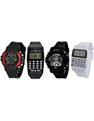 Pappi Boss Sports Watch Collections - Pack Of 4 Digital Black, Red Dial Sports Wrist Watch & White, Black Digital...