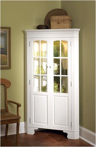 Cheap white corner curio cabinet with light sale discount for Cheap white cabinets sale