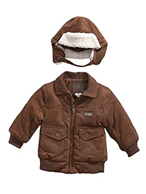 GUESS Kids Baby Boy Bomber Jacket with Hat (12-24m), BROWN (24M)