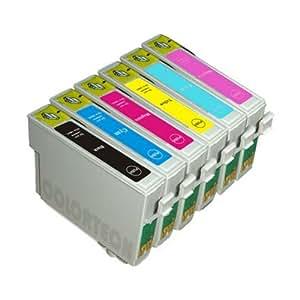 24XL / T2438 - 6 Cartouches d'encre Compatibles pour Epson Expression Photo XP-750 XP-850 XP-950 - XL Avec Puce Cyan / Photo Cyan / Jaune / Magenta / Photo Magenta / Noir