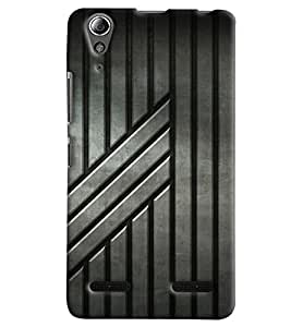 Blue Throat Stripes Pattern In Grey Printed Designer Back Cover For Lenovo A6000