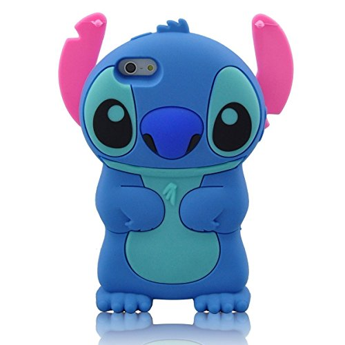 iPhone 6S Plus Case, MC Fashion Cute 3D American Cartoon Character Stitch Protective Silicone Phone Case Compatible for iPhone 6S Plus (2015) & iPhone 6 Plus (2014) (Cute Girl Cartoon Characters)