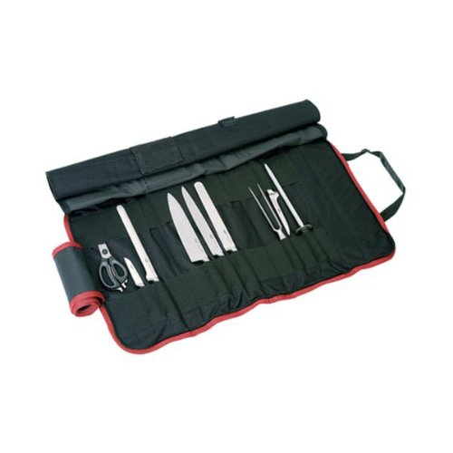 Paderno World Cuisine 9 Piece Cutlery Roll bag with one each Chef's Knife, Slicing Knife, Ham Knife, Boning Knife, Paring