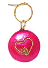 Rafia 14K Gold Filled Hot Pink Button with Wire Wrapped Heart Charm Pendant