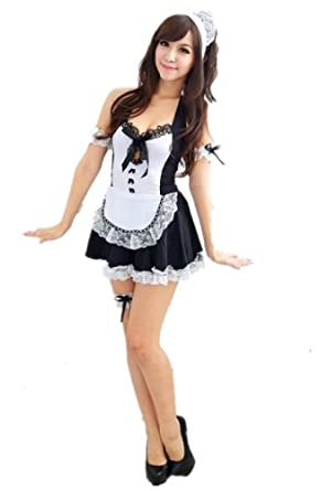 Group@ Sexy Black White French Maid Lolita Costume Dress & Headpiece Halloween