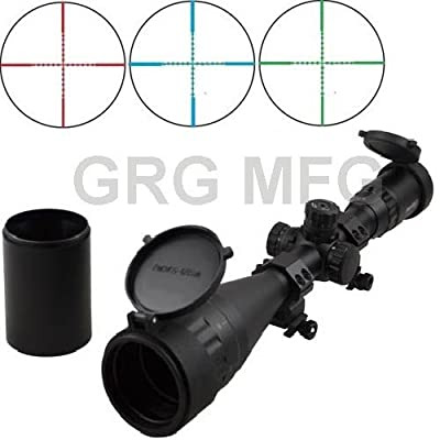 4-16x50mm Scope W front AO adjustment. Red/green Illumination mil-dot reticle. Comes with extended sunshade and Heavy Duty Ring Mount by Grg Mfg