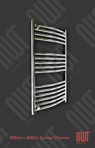 600 x 800 Heated Towel Rail / Radiator / Warmer - Curved Chrome 1624 BTU's