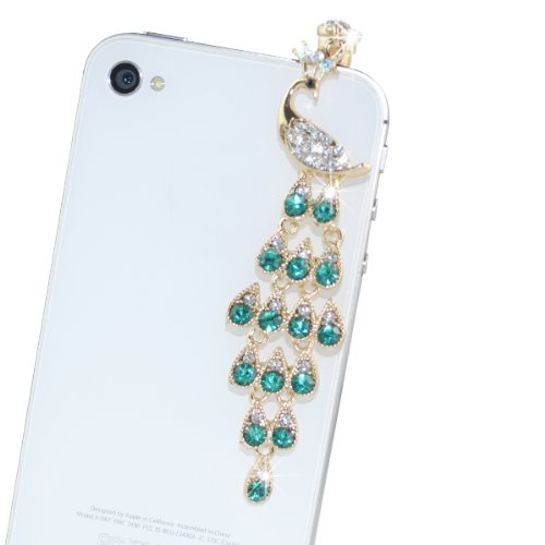 Iclover Lovely Peacock Style Bling Crystal 3.5Mm Rhinestones Cellphone Charms Anti-Dust Dustproof Headphone Jack Plug For Iphone4¡¢4S,Ipod Ipad2 Ipad3,Samsungi9300 I9220 I9300,Htc,All The 3.5Mm Series Of Panel Computer And Phone - Green