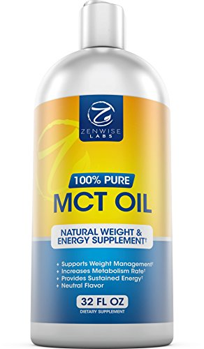 Premium MCT Oil Derived from Coconut Oil - Paleo, Gluten and Vegan Friendly Supplement - 32 FL OZ
