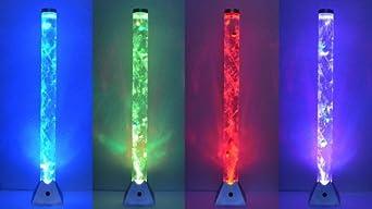 RGB LED Wassersäule Steh Leuchte 10 Deko-Fische Wohnraum Stand Lampe Big Light
