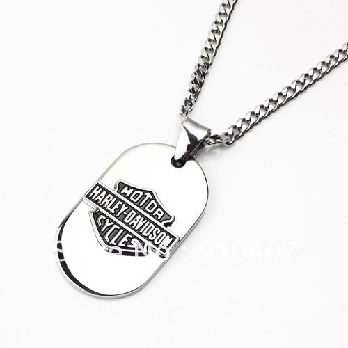 HARLEY Style DOG TAG High polished PENDANT NECKLACE BIKER HOG ROCKER - FREE SHIPPING from USA