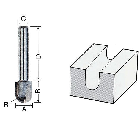 ライト精機 トリマー・ルータービット TR-49 呼称 16X6 商品名称 U溝ビット(トリマ用) [その他] [その他] [その他] [その他]