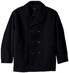 London Fog Men\'s Big Austin Double Breasted Wool Pea Coat, Black, 2X/Big